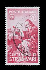 Antonio Stradivari commemorato in un francobollo italiano usato