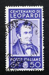Giacomo Leopardi commemorato in un francobollo italiano usato
