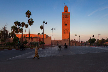View of the Koutubia Mosque, the most popular mosque in Marrakec