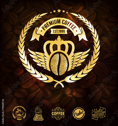 gold coffee label premium coffee labels and badges golden coffee