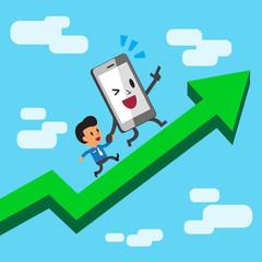 Cartoon character smartphone and businessman running on a green arrow