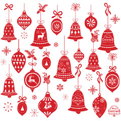 Retro Christmas Bell Design Elements