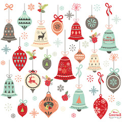 Vintage Christmas Bell Design Elements