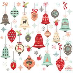 Vintage Christmas Bell Design Elements
