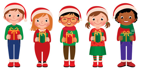 Cartoon children with Christmas gifts isolated on white background/Vector illustration of children in full length with Christmas gifts  isolated on white background