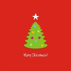 Felicitación Navideña árbol de Navidad con bolas de colores ENG