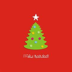 Felicitación Navideña árbol de Navidad con bolas de colores ESP