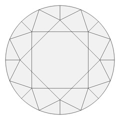 Brilliant Diamond Wireframe Top Down Orthographic Drawing Isolated on White