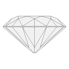 Brilliant Diamond Wireframe Orthographic Drawing Isolated on White