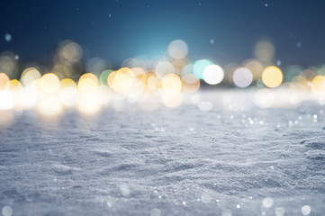 Snowy Background with Bokeh Lights