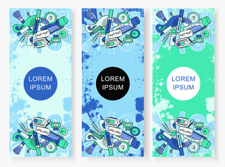 The vertical banners to the perfumery and cosmetic booklet with hand-drawn elements of isolated vector illustrations