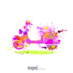 moped with ink blots