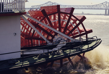 A paddlewheel steamer on the Mississippi in New Orleans