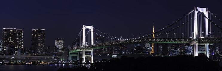 Panorama of Famous rainbow bridge in Tokyo bay