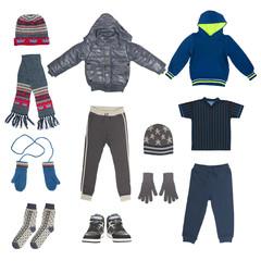 set of child winter clothing isolated on white