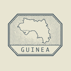 Stamp with the name and map of Guinea