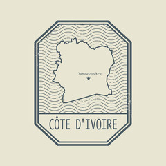 Stamp with the name and map of Cote d Ivoire