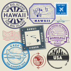 Retro postage USA stamps set