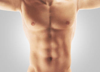 Torace addominali uomo nudo