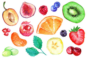 Watercolor kiwi strawberry blueberry blackberry raspberry orange banana grape mint mandarin cherry lychee fig plum pomegranate fruit berry set isolated