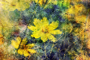 cute yellow flowers and watercolor brushstrokes