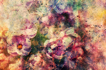 cute lilac flowers and watercolor brushstrokes