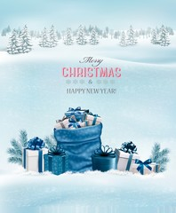 Christmas background with a winter landscape and blue sack full