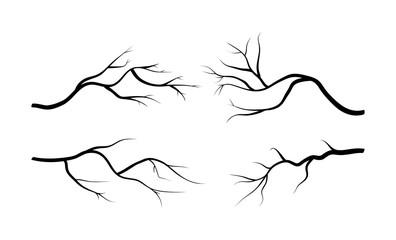 branch silhouette icon set, symbol, design. vector illustration isolated on white background. Fotoväggar