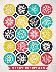 Retro Christmas card with snowflakes and greeting text, vector
