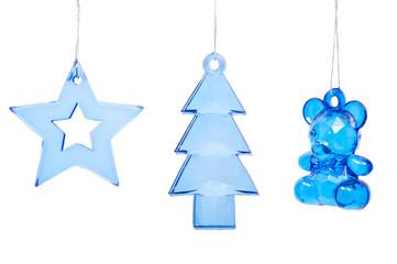 Christmas tree toys on white background