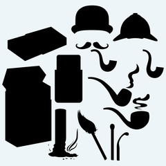 Set of tobacco pipes, cigarette butt, pack of cigarettes and match. Isolated on blue background. Vector silhouettes