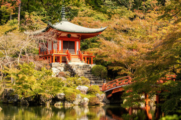 Autumn at daigoji temple with colorful