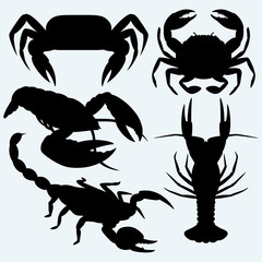 Set crustaceans. Isolated on blue background. Vector silhouettes