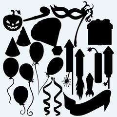 Festive set: balloon, rocket fireworks, gift box, pumpkin, mask for masquerade costumes and curling stream. Isolated on blue background. Vector silhouettes