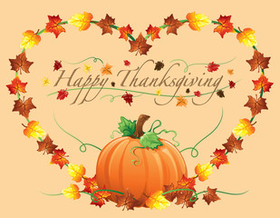 Background illustration of autumn leaves and pumpkins in a heart shape for Thanksgiving