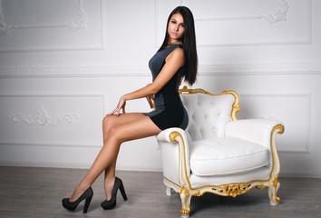 Beautiful girl in a short sexy dress