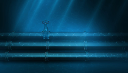 3d Illustration of oil pipeline lying on ocean bottom under water