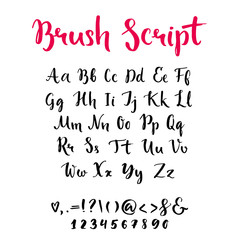 Brush script with lowercase and uppercase letters, keystrokes and digits. Full alphabet handwritten with brushpen. Vector calligraphic english abc