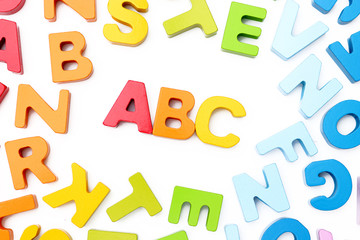 ABC Spelled with colorful letter blocks