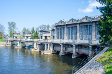 Hydroelectric power station on river Labe in Podebrady (Czech Republic)