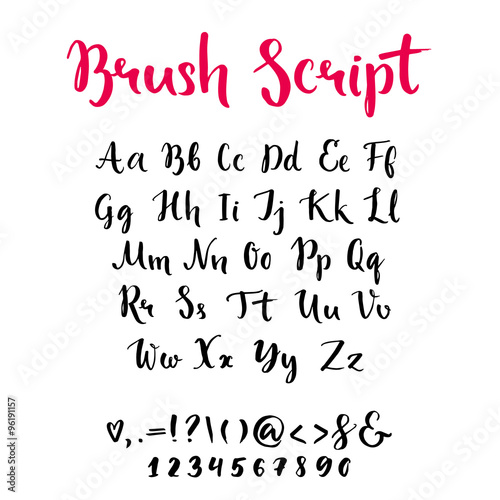 Quot brush script with lowercase and uppercase letters
