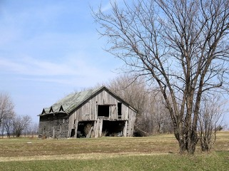 rustic old bare wooden barn