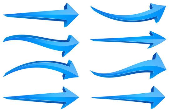 Set of Blue 3D Arrows