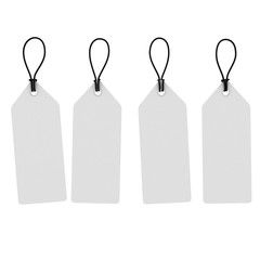 Blank White Hanging Price Tags Isolated on White