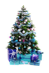 blue Christmas gifts under tree