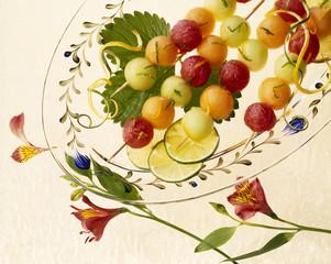 Melon Skewers fruit dessert.