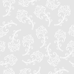 Hand drawn flowers simple seamless pattern