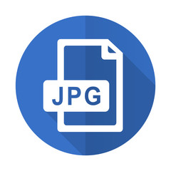 jpg file blue flat desgn icon with shadow on white background