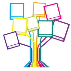Family tree with many-colored frames white thame