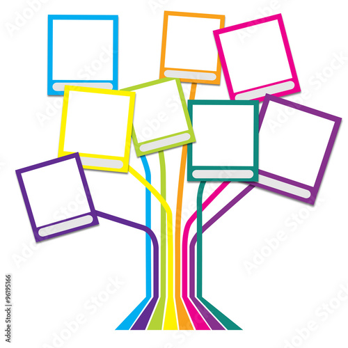 Family tree with many-colored frames white thame\